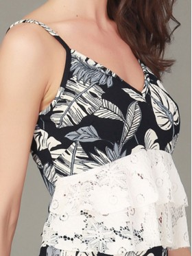 Backless Hollow Straight Sleeveless Floral Print Lace Standard Suit